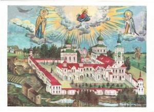 Литография монастыря XIX века: